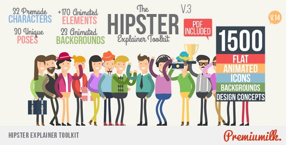 AE模板-1500种时髦二维卡通人物动作场景介绍图标MG动画 Hipster Explainer Toolkit & Flat Animated Icons Library插图