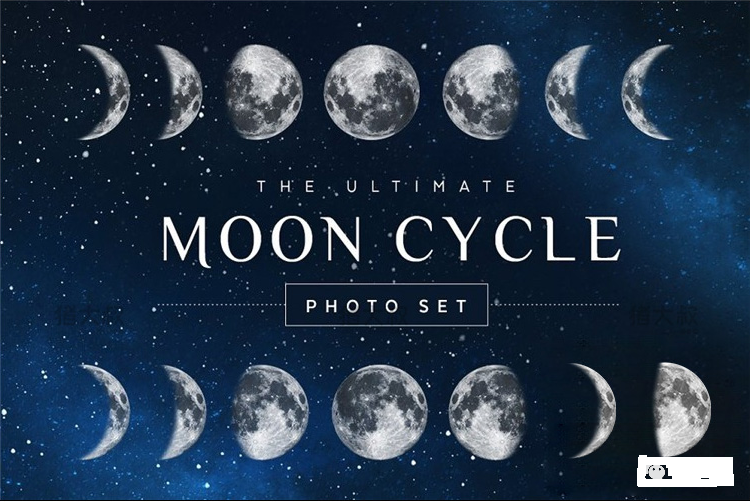 月亮月球圆月月相变化弯洁白月高清图片元素PNG免扣PS设计素材免费下载插图