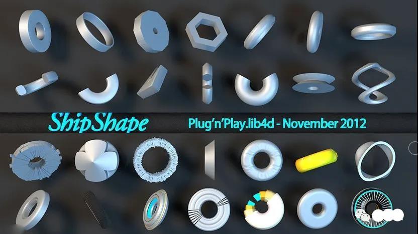 C4D工业形状创意零部件模型预设创意场景3D模型素材免费下载插图
