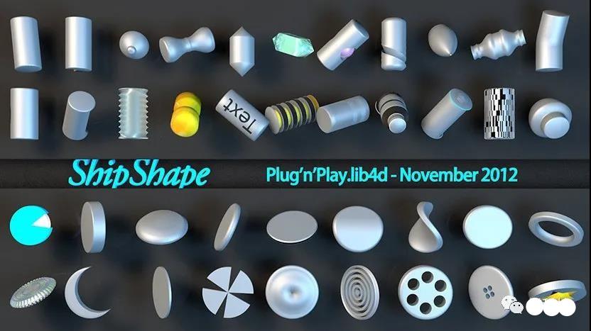 C4D工业形状创意零部件模型预设创意场景3D模型素材免费下载插图1