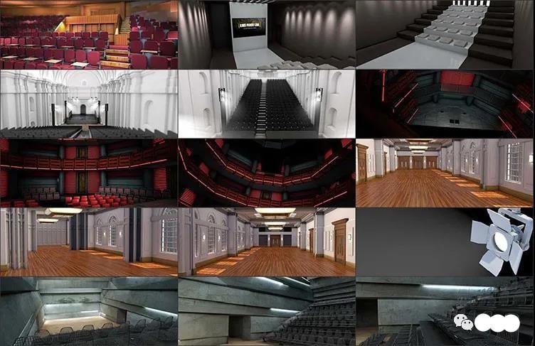 C4D会议会场预设音乐会展览室内器具活动剧电影院3D模型素材插图