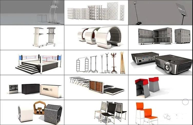 C4D会议会场预设音乐会展览室内器具活动剧电影院3D模型素材插图2