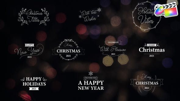 FCPX插件-10组漂亮花纹圣诞节日文字标题动画 Christmas Titles插图