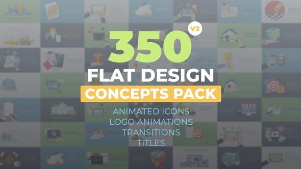 AE模板-350个扁平化概念设计日常生活商务手势图标MG动画 Flat Design Concepts插图