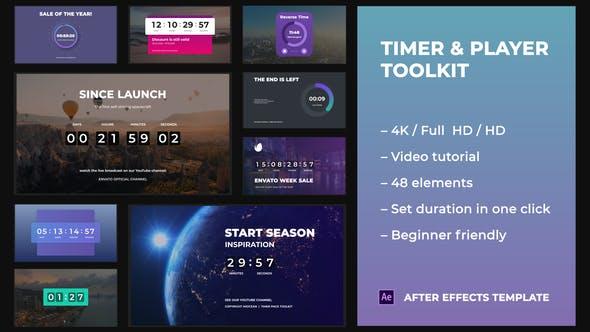 AE模板-48种漂亮倒计时进度图形动画工具包 Timer Player Toolkit插图