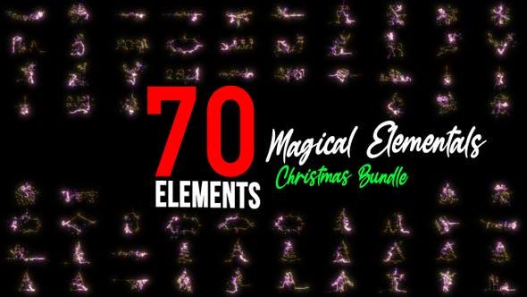 4K视频素材-70个圣诞节日魔法粒子图形动画 Magical Elementals插图