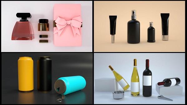 【模型】18套饮料易拉罐护肤品瓶子包装C4D模型工程源文件插图